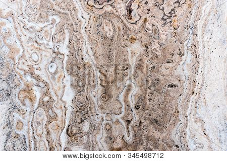 Smooth Surface Texture Of Stone, White Beige Or Ecru Color Striped Wave Pattern Of Marble, Strong St