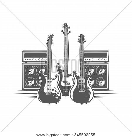 Three Guitars And Concert Speakers