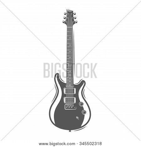 Guitar Silhouette Isolated On A White Background