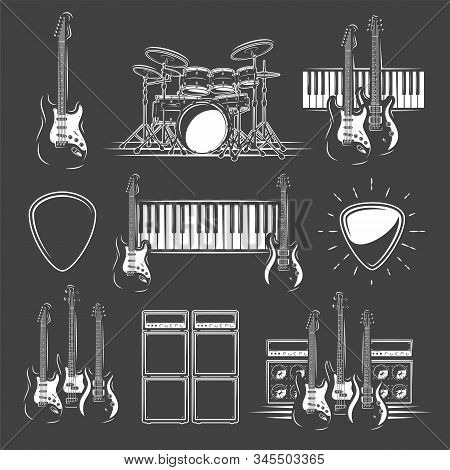Set Of Musical Instruments Isolated On A Black Background