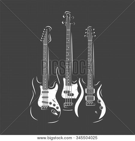 Three Guitars Isolated On A White Background