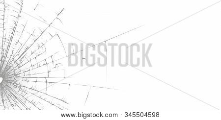 Broken Glass Texture Template On A White Background