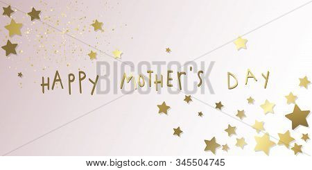 Happy Mothers Day Gold Stars Ang Glitter Illustration Banner