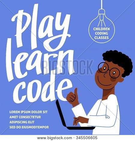 A Square Image Of A Boy Who Studies Coding. A Vector Image For A Flyer Or A Poster For The Children