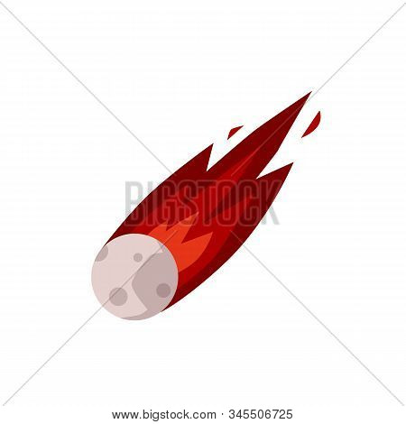 Meteor Or Comet With Burning Gas Tail Icon, Flat Vector Illustration Isolated.