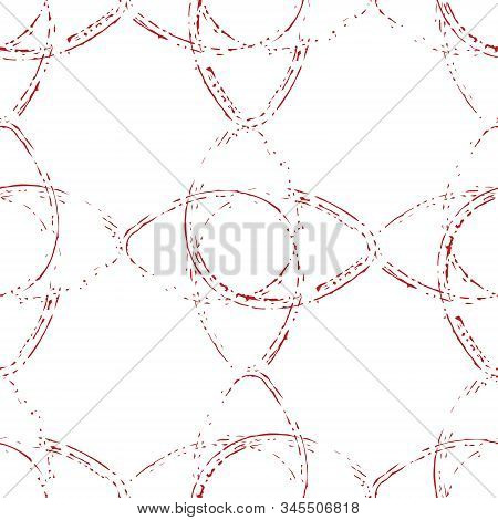 Grunge Abstract Ornament Seamless Texture. Distress Bright Colorful Brush Painted Circles Endless Pa