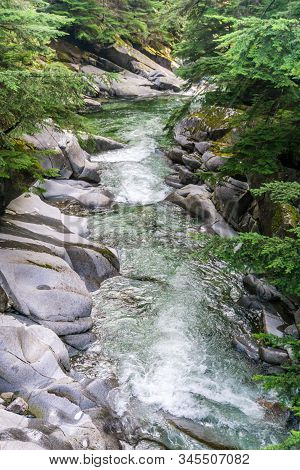 A View Of  The Clear Water Of Denny Creek In Washington State.