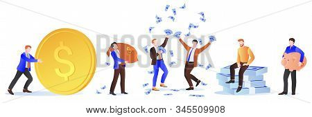 Rich Men With Money. Businessman With Dollars, Sack Of Money, Gold Coins And Piggy Bank. Vector Illu