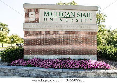 East Lansing, Michigan, Usa - September 17, 2018: Sign For The Michigan State University Campus. Msu