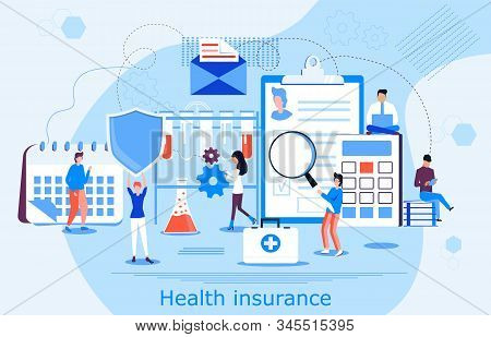 Healthcare Insurance Vector Concept, People With Doctor Filling Health Online Assurance Policy. Shie