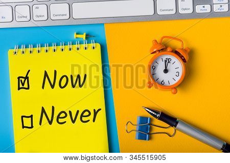 Fighting Procrastination Concept - Check-box With Call To Act Now Or Never, Do It Now