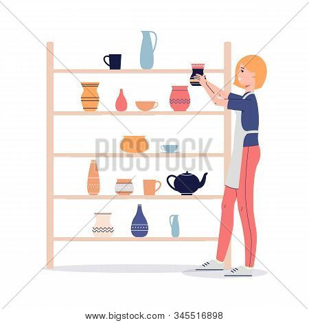 Woman Sets Clay Utensils In Workshop Or Store, Flat Vector Illustration Isolated.