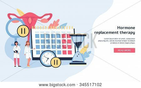 Female Healthcare Banner With Women Cartoon Characters Flat Vector Illustration.
