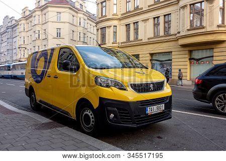Ostrava, Czechia - January 17, 2020: Peugeot Expert Furgon Car Of The Ceska Posta (czech Post Office
