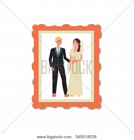 Wedding Snapshot Of Couple In Photo Frame, Flat Vector Illustration Isolated.