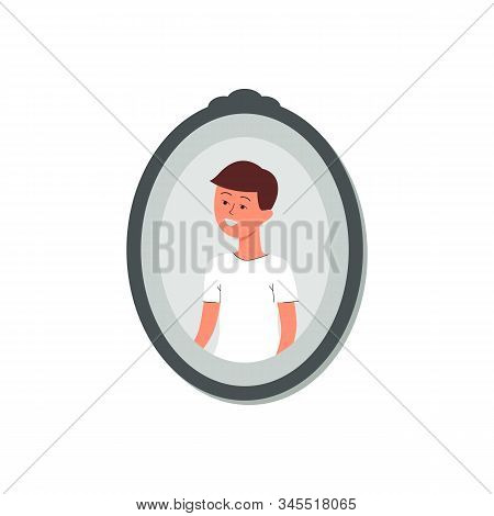 Photography Or Snapshot Of Cute Little Boy, Flat Vector Illustration Isolated.