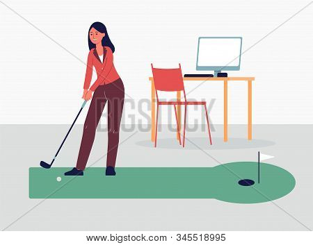 Woman Playing Golf Game On Break At Work, Flat Vector Illustration Isolated.