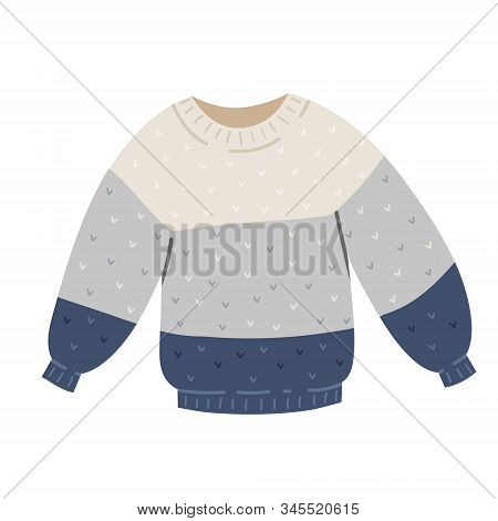 Warm Woolen Sweater For Winter And Autumn Cold Weather, Seasonal Outfit. Modern Simple Hand Drawn Il