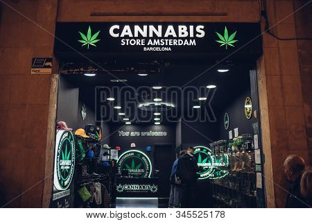 Barcelona, Spain - December 23, 2019: Front View Of The Cannabis Store Amsterdam In Barcelona, Spain