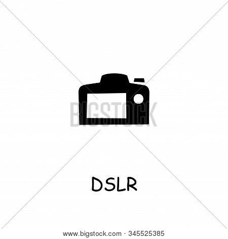 Dslr Camera Flat Vector Icon. Hand Drawn Style Design Illustrations.