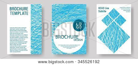 Annual Report Covers Design Set. Blue Sea Water Waves Texture Backdrops. Buzzing Rippling Motion Bac