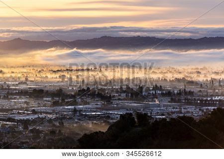 Los Angeles California clearing winter storm sky at dawn.   Photo taken at Santa Susana Pass State Historic Park.