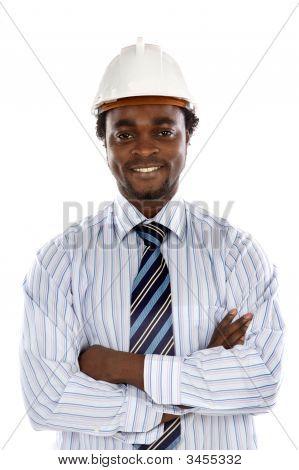 Foto des gut aussehend lächelnd Ingenieur