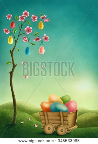 Tree with pink flowers and colorful Easter eggs. Illustration with copy space