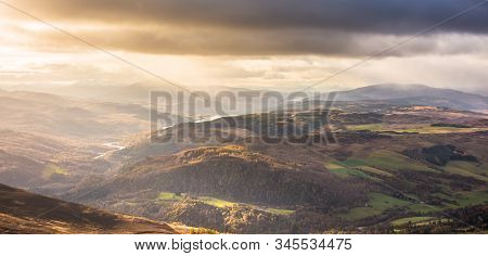 Loch Tummel, Loch Rannoch And Mountains Of Central Scotland - View From Ben Vrackie