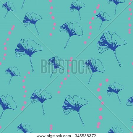Vector Seamless Pattern Ginko Wax With Blue Ginkgo Leaves, Pink Dots