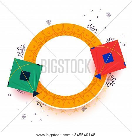 Kites On Yellow Frame With Text Space Design Illustration