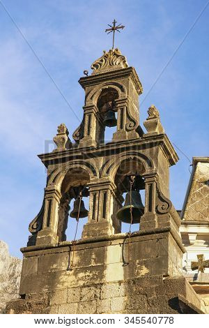 Religious Architecture. Montenegro, Old Town Of Kotor, Unesco-world Heritage Site.  Bell Tower Of Ch