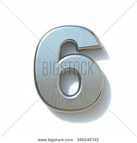 Brushed Metal Font Number 6 Six 3d Render Illustration Isolated On White Background