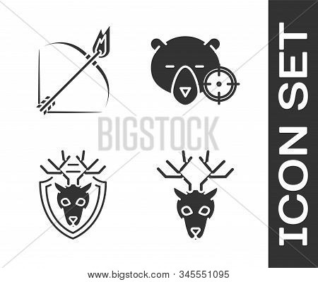 Set Deer Head With Antlers, Bow And Fire Arrow, Deer Head With Antlers On Shield And Hunt On Bear Wi
