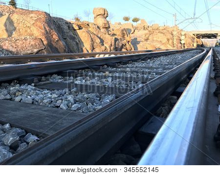 Isolated Railway Line With No Train On It