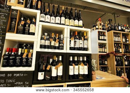 Porto, Portugal- January 6, 2020: Different Types Of Port And Douro Wine Bottles For Sale In A Port