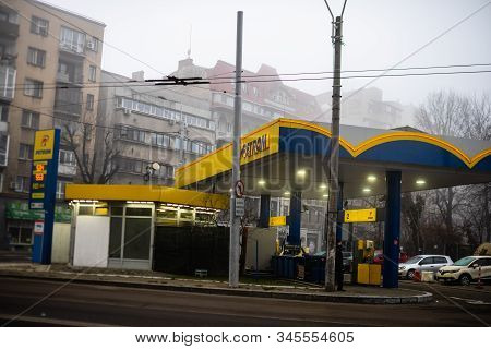 Petrom Gas Station In Downtown Area Of Bucharest City, Romania, 2020