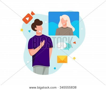 Vector Illustration Young Men Talk To Women In Bubble Chat. Concept Of Online Communication Technolo