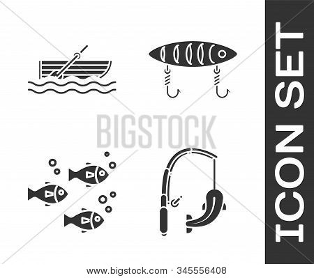 Set Fishing Rod And Fish, Fishing Boat With Oars On Water, Fish And Fishing Lure Icon. Vector