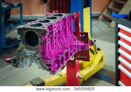 Car Cylinder Block In Workshop. Engine Overhaul In A Small Service