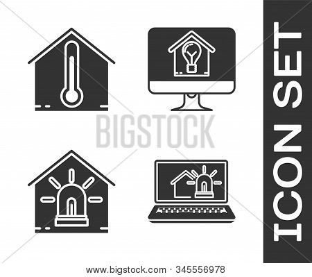 Set Laptop With Smart House And Alarm, House Temperature, Smart House And Alarm And Computer Monitor