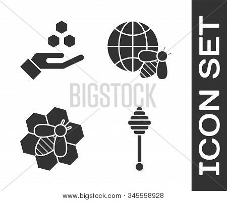 Set Honey Dipper Stick, Honeycomb And Hand, Bee And Honeycomb And Honeycomb Map Of The World And Bee