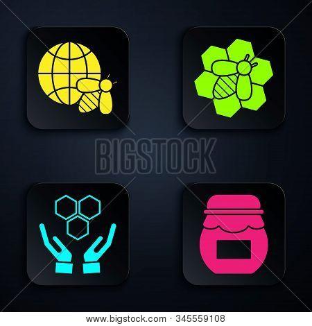 Set Jar Of Honey, Honeycomb Map Of The World And Bee, Honeycomb And Hands And Bee And Honeycomb. Bla