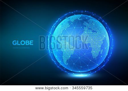 Earth Globe Illustration. World Map Point And Line Composition Concept Of Global Network Connection.