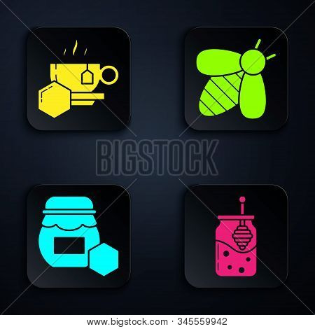 Set Jar Of Honey And Honey Dipper Stick, Cup Of Tea With Honey, Jar Of Honey And Bee. Black Square B