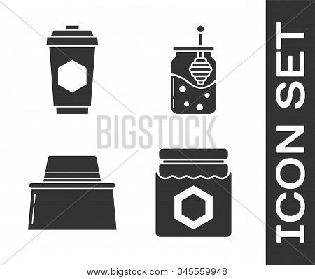 Set Jar Of Honey, Cup Of Tea With Honey, Beekeeper With Protect Hat And Jar Of Honey And Honey Dippe