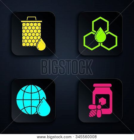 Set Jar Of Honey With Bee, Honeycomb, Honeycomb Map Of The World And Honeycomb. Black Square Button.