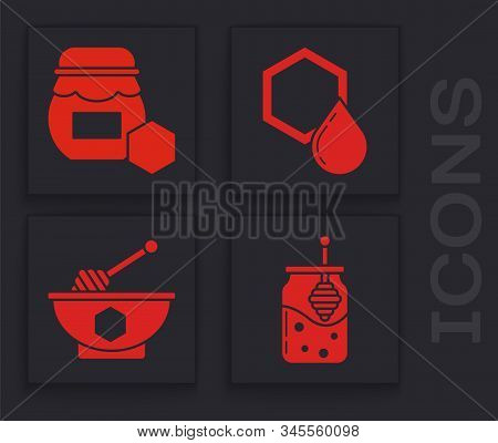 Set Jar Of Honey And Honey Dipper Stick, Jar Of Honey, Honeycomb And Honey Dipper Stick And Bowl Ico