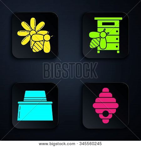 Set Hive For Bees, Bee And Flower, Beekeeper With Protect Hat And Hive For Bees. Black Square Button