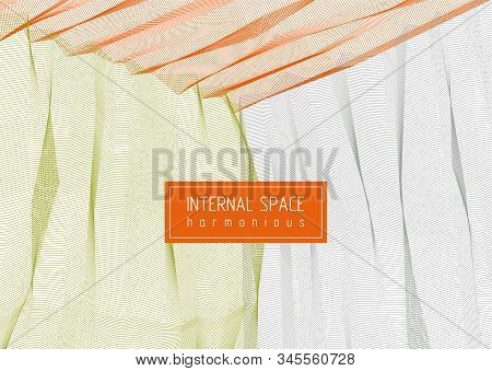 Vector Surreal Illusion Art For Design, Line Art 3D Dimensional Textured Inner Space, Hallucinogen D